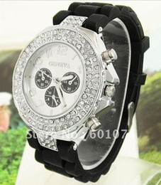 GENEVA Watch 2012 Women Double Diamond Silicone watch sale Quartz Watches 7color
