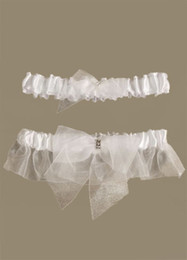 Wholesale White Lovely Bow Beading Terylene Satin Gauze Wedding Garters u6 Bkg