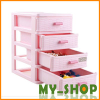 Wholesale Four mini plastic storage drawers finishing cabinet Desktop sorting box small debris box storage cabinets