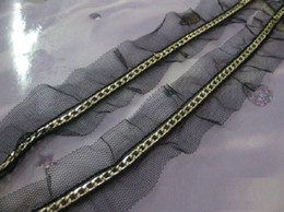 Wholesale 5Yard quot Wide Gold plated Chain Lace chiffon Fringe on Black Braided Trim Ribbon
