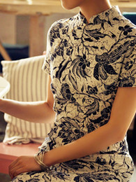 Wholesale Vintage Big Floral Prints Short Sleeves Flax Cheongsam Costumes wedding dresses u6 lnk
