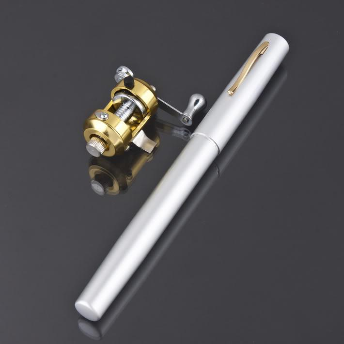 Hot new mini pen fishing rod golden fishing reel micro for Micro fishing pole
