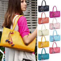 Wholesale Fashion Ladies Womens Faux Leather Flower Casual Handbag Shoulder Bag Tote