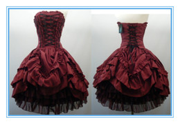 Wholesale Custom Best Selling Strapless Corset Back Short Ball Gown Layered Taffeta Tulle Gothic Wedding Dresses Burgundy and Black Wedding Gowns