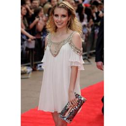2017 Fashion party dress women's chiffon bead midi white dress New off-the-shoulder dress Bohemian short sleeves skirts