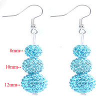 Wholesale Dazzling Silver Aqua blue Swarovski Crystal Disco Ball Shamballa Drop Earrings
