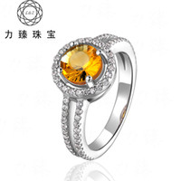 Natural crystal / semi-precious stones Citrine Yellow Li Zhen jewelry exaggerated natural Citrine Ring opening silver ring jewelry female models S925 shipping