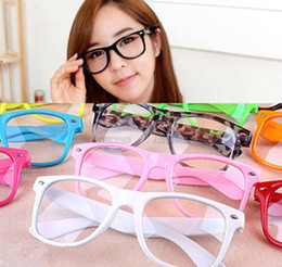 Wholesale Fashion Retro Vintage Unisex Clear Lens Wayfarer Nerd Geek Glasses Colors