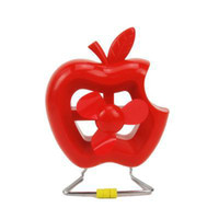 Wholesale 2013 New Sale Colors Portable Mini Apple Shape USB Rechargeable Fan