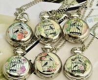Women's antique bird cages - 30PCS color Unisex Ladies MM Quartz Stainless Steel Bird Cage Antique Silver locket Pocket Watch Women s pocket Watches