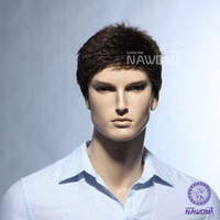 kanekalon hair - Male Glamorous Charming Fashion Black Wave Kanekalon Fiber Synthetic Men Wig Hair H9101Z