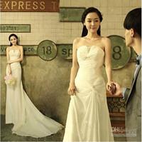 Strapless korean maternity dress - Wedding dresses Korean version sweet bride Bra trailing long dress white chiffon dress evening dress
