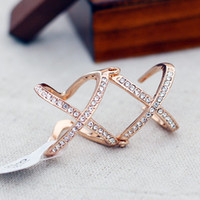 Wholesale Double X Ring Personalized Fashion Alloy Rhinestone Women Fashion Open Ring Women Gifts Colors C0817