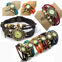 Free Ship 5pcs lot Retro Quartz Fashion Weave Wrap Around Le...