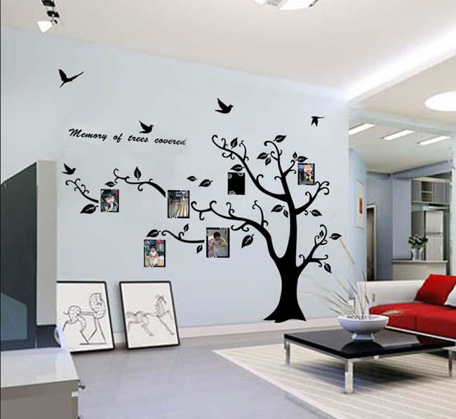 Large Photo Frame Family tree Wall Art stickers Decoration with Birds Art  Home Removable Vinyl Decals