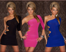Wholesale New Hot Cool One Shoulder Short Sleeve Women s lingerie Sexy Minidress Clubwear Blue Pink Black
