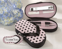 Wholesale 2013 fashion sets Vogue cute pink Pink Polka slippers manicure sets pedicure for wedding bridal festival party Decoration
