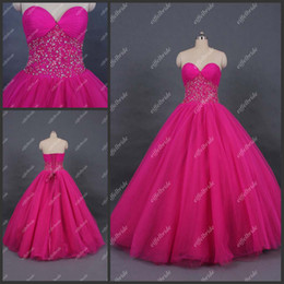 Wholesale Real Sample Sweetheart Neckline Promotion Lace up Back Beaded Quinceanera Dresses Hot Pink Ball Gown Prom Dresses