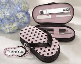 Wholesale lastest fashion Vouge cute pink Pink Polka Purse slippers manicure sets pedicure for wedding bridal festival party Decoration