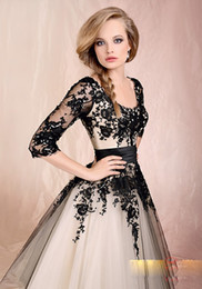 Wholesale 2015 Best selling Black Lace Long Sleeve Tea length Prom Dresses Formal Party Evening Gowns Custom Made PD324