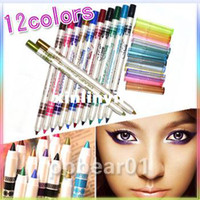 Wholesale 12 Color Glitter Lip liner Eye Shadow Eyeliner Pencil Pen Cosmetic Makeup Set
