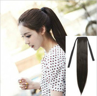 Wholesale quot quot HUMAN HAIR ponytail extensions B off black real human hair straight g