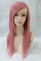 straight African-American Wigs Christmas MEDIUM FASHION SMOKE PINK WOMEN HEAT RESISTANT PARTY WIG