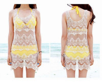 Wholesale Women Sexy Lace Hollow Crochet Sleeveless Swimwear Bikini Cover Up Beach Dress