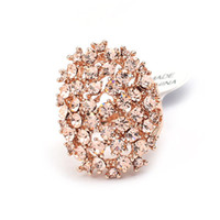 Wholesale Women Ring Affordable Fashion Magazine Elliptic Shape Alloy Rhinestone Jewelry C0821