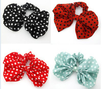 Wholesale Fashion girl women Big bowknot Rabbit Ear Bow Korean Style Headband Ponytail Holder Hair Tie Band