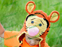 Wholesale new design TIGER CROCHET ANIMAL HAT Photo prop winter wear infant toddler