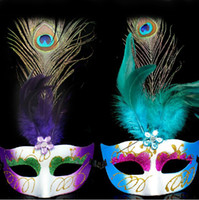 Wholesale Beautiful Peacock Feather Mask Venetian Mask in Dora Games Make Up Accessories for Party LP062