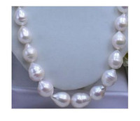 Wholesale 18 quot Huge AAA MM South Sea White Baroque Pearl Necklace k GOLD CLASP
