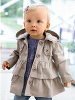 Wholesale 2014 autumn new childrens outerwear baby girls ruffles dust coat long Sleeve tiered hooded greatcoats coats tops jacket