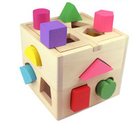wooden matches - Colorful wooden toy children intellect box different shapes of holes matching game