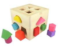 Wholesale Colorful wooden toy children intellect box different shapes of holes matching game