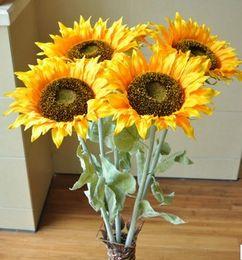 Wholesale Single head sunflower high simulation flower floor artificial silk flower