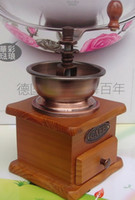 Dining antique grinder - Vintage Manual Coffee Grinderes Hand Wooden Coffee Mill Grinder Antique Brass Material Adjustable Knob to Ajust Grind Setting