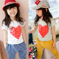 2T-3T 5-7-9-11-13 Round Neck Cute Baby Girls Summer Clothes Short Sleeved Pure Cotton Heart Printed Tee Shirts Fashion Children T White Aqua Size 5 7 9 11 13 Casual 8686
