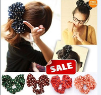Wholesale Fashion girl women Big bowknot Rabbit Ear Bow Korean Style chiffon Headband Ponytail Holder Hair Tie Band Hair Jewelry colorful jessie