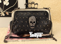 Wholesale Women Lady Punk Skull Knuckle Ring Clutch Message Bag Evening Shoulder Purse Bag SH