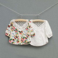 Wholesale Girls Cute Lace Embroidered Collar Shirts Children Clothing Kids Cute Casual Tops Fashion Princess Flower Shirt Child Long Sleeve T Shirts