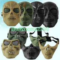 Wholesale EQA001 Cool Paintball Hunting Game Airsoft Skull Skeleton Mask Full Half Face Protector