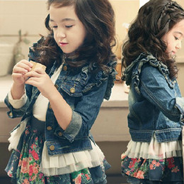 Wholesale 2013 autumn new girls dress girls cotton denim lace jacket Children s long sleeved jacket