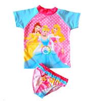 Wholesale Child sunscreen swimwear girls cartoon one t shirt with one bloomer anti uv child swimwear