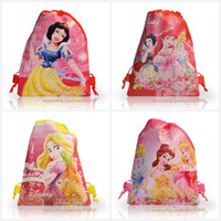 Wholesale 12Pcs Princess design kids Cartoon Drawstring Backpack Bag kids school bags Non woven CM designs kids party gifts