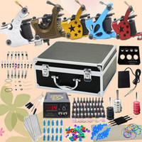 Wholesale Top Tattoo Kit Machine Guns Power Grips Needles Tips Supplies Inks Needles Set USwarehouse B