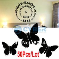 Wholesale 50Pcs Lot DIY 3D Wall Sticker Butterflies Home Dec...