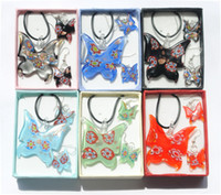 Europe and America murano jewelry - Delicate Mix Color Butterfly Shape lampwork glass necklace earrings set murano jewelry set