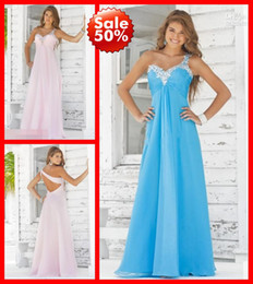 Wholesale Fashion in Stock Pink Blue One shoulder Backless Crystals Beads Cheap Prom Evening Formal Dresses Dress Gowns